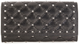 Valentino Rockstud Spike Quilted Cracked-leather Wallet