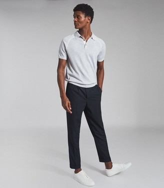 Reiss SAMMY TIPPED MELANGE POLO SHIRT Indigo