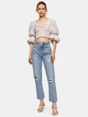 Topshop 32' Editor Ripped Jeans - Mid Blue