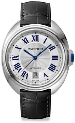 Cartier Cle de Stainless Steel & Black Alligator-Strap Watch