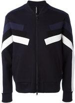 Neil Barrett sleeve panel zip cardigan - men - Cotton/Polyurethane/Spandex/Elastane/Viscose - XS