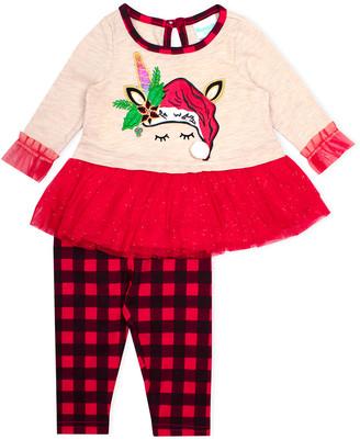 Nannette Baby Girls' Leggings BEIGE - Beige Unicorn Peplum Top & Red Buffalo Check Leggings - Newborn & Infant