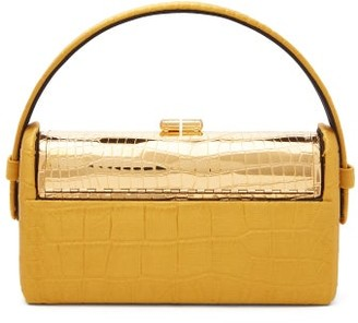 BIENEN-DAVIS Regine Crocodile-effect Satin Minaudiere Clutch - Gold