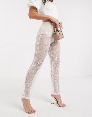 Lioness sheer lace trousers in white