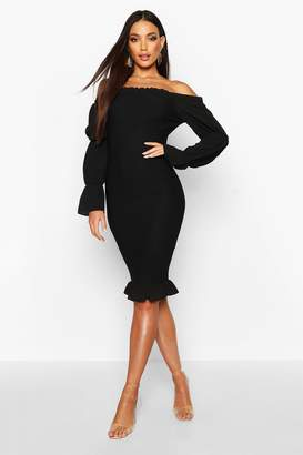 boohoo Shirred Bodycon Dress With Tiered Sleeves