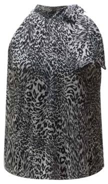 INC International Concepts Inc Petite Animal-Print Tie-Neck Halter Top, Created for Macy's