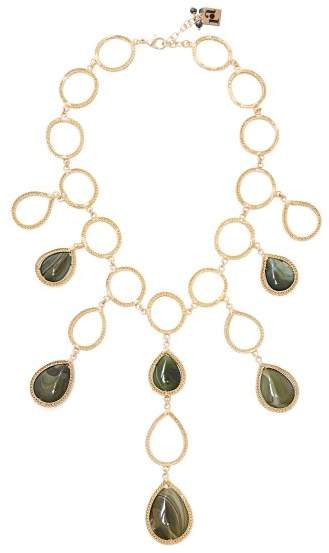 Rosantica By Michela Panero - Scarabeo Teardrop Stone Necklace - Womens - Green