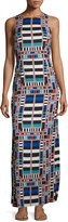Mara Hoffman Geometric-Print Column Maxi Dress, Riser Navy