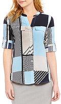 Calvin Klein Geometric Print Roll Sleeve Blouse