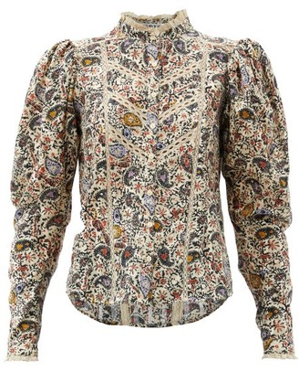 Etoile Isabel Marant Reafi Paisley-print Cotton-gauze Blouse - Ivory Multi