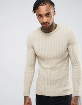 Asos Muscle Fit Ribbed Jumper In Oatmeal