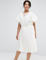 Asos Pleated Skirt Midi Dress With Crochet And Organza Detail