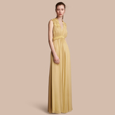 Burberry Ruched Silk Georgette Dress