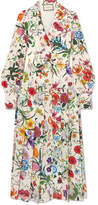 Gucci Pleated Floral-print Silk Crepe De Chine Dress - Ivory