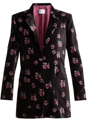 Racil Alfred Floral Print Single Breasted Velvet Blazer - Womens - Black Multi
