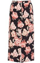 Quiz Black And Wine Crepe Rose Print Culotte Trousers