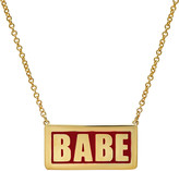 Established Red Enamel Babe Plate Necklace - Yellow Gold