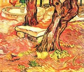 The Museum Outlet - Stone bench in the garden of the hospital of Saint-Paul by Van Gogh, Stretched Canvas Gallery Wrapped. 16x20""