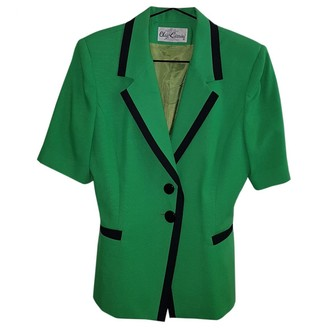 Oleg Cassini Green Cotton Jacket for Women Vintage