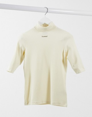 Hummel central logo polo neck in cream