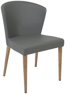 Verona Upholstered Side Chair Oggetti Leg Color: Oak, Upholstery Color: Brown