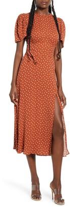 AFRM Jamie Polka Dot Open Back Short Sleeve Dress