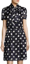 Pink Tartan Tie-Neck Polka-Dot Dress, Blue/White