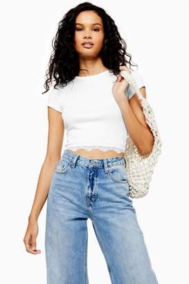 Topshop Womens White Lace Hem Crew Neck T-Shirt - White