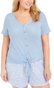 Planet Gold Trendy Plus Size Tie-Front Top