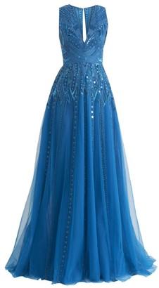 ZUHAIR MURAD Muromachi Sleeveless Beaded V-Neck Gown