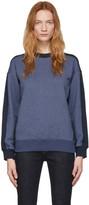 Victoria Victoria Beckham Blue and Navy Logo Tape Sweatshirt