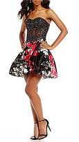 Blondie Nites Strapless Floral Print Skirt Fit-And-Flare Dress