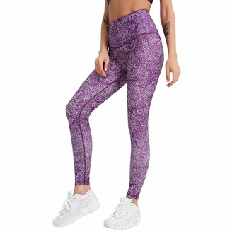 HOOUDO Women Yoga Pants High Waist Push up Tummy Control Fitness Workout Leggings Tights Sports Stretchy Pants Purple