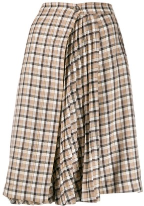 Paco Rabanne checked pleated panel skirt