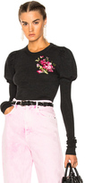 Dolce & Gabbana Crewneck Puff Sleeve Sweater in Black,Gray,Floral.