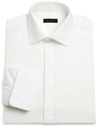 Saks Fifth Avenue COLLECTION Contrast Houndstooth Formal Cotton Dress Shirt