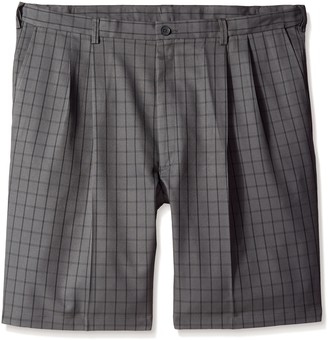 Haggar Men's Big-Tall Cool 18 Graphic Windowpane Pleat Front Short