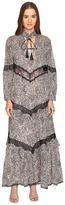 Just Cavalli Long Sleeve Hide and Seek Sheer Inset Maxi Women's Dress