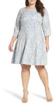 Eliza J Plus Size Women's Pintuck Lace Fit & Flare Dress