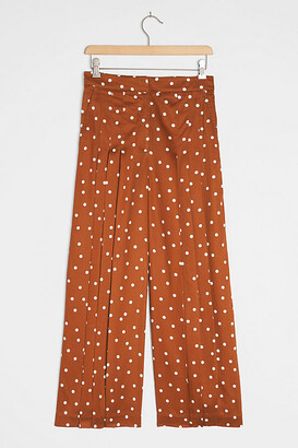 Maeve Isobel Pleated Wide-Leg Pants By in Orange Size XS