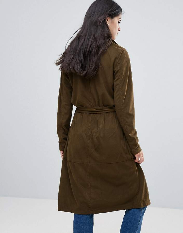 Only Jennifer Faux Suede Long Trench Coat