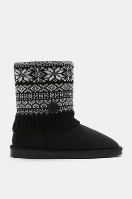 Ardene Printed Faux Suede Cable Knit Boots - Shoes |