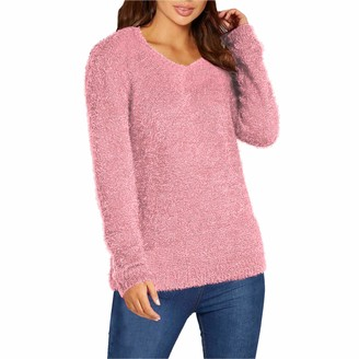 Xpose Ladies Soft Knit Soft Touch Mohair Look Fluffy V-Neck Warm Winter Jumper Sweater Top Black Navy Royal Blue Wine Cream Nude Khaki Mustard Coral Cerise Pink 8 10 12 14 (Nude M/L (12/14))