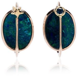 Bibi Van Der Velden 18K rose gold, opal and tsavorite planet earrings