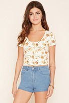 Forever 21 FOREVER 21+ Buttoned Floral Crop Top