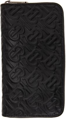 Burberry Black Monogram Zip-Around Wallet