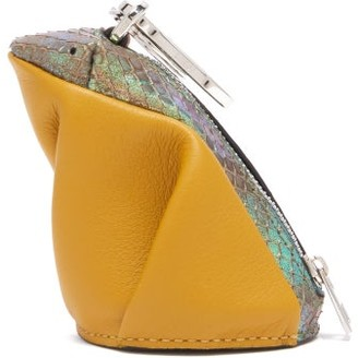 Loewe Frog Coin Purse Leather Key Ring - Womens - Yellow Multi