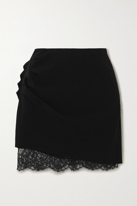 Fleur Du Mal Lace-trimmed Ruched Crepe Mini Skirt - Black