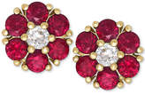 Macy's Ruby (1-1/5 ct. t.w.) and White Sapphire (1/6 ct. t.w.) Flower Stud Earrings in 14k Gold