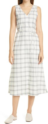 Theory Deep V Sleeveless Plaid Maxi Dress